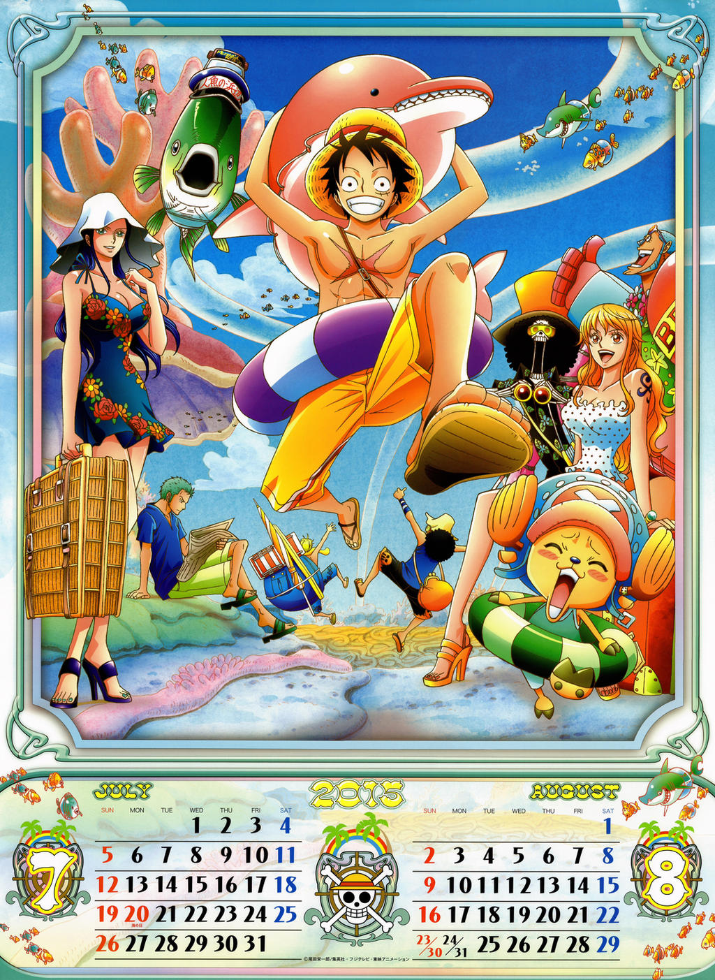 Calendar Art Piece : July august one piece official calendar by