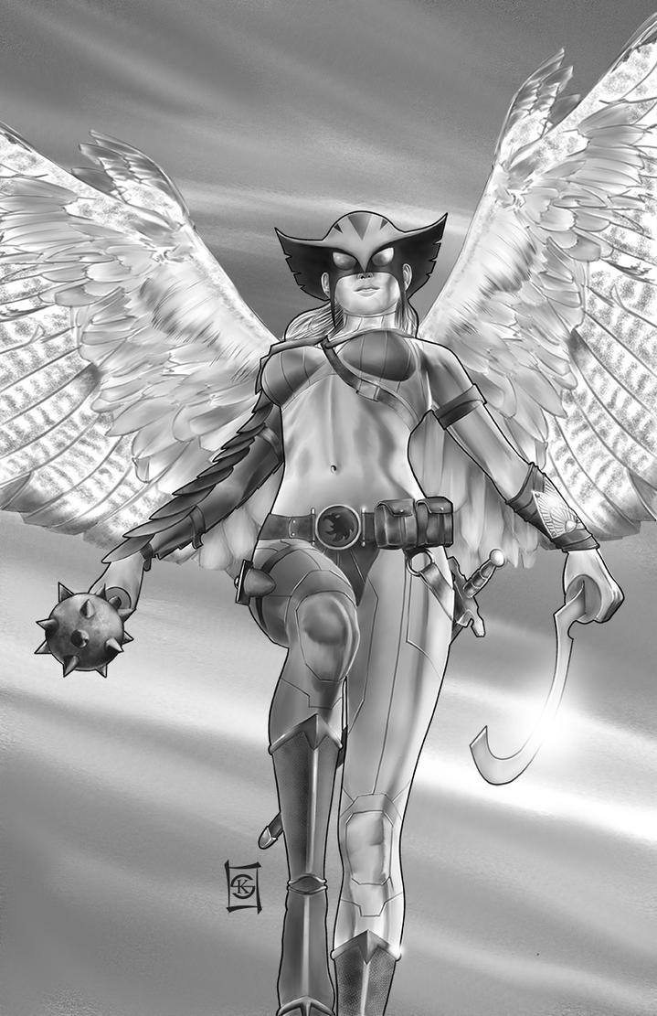 Hawkgirl Black and White by JacksDad