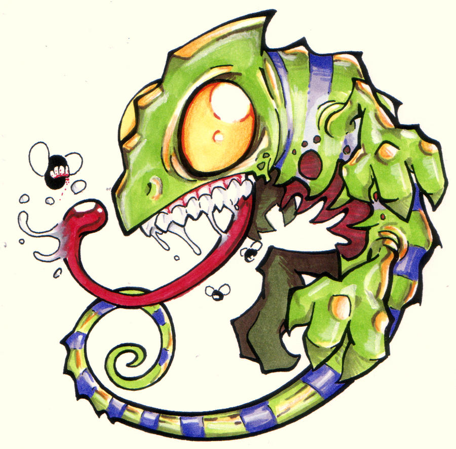 Crazy Chameleon Tattoo: Zombie Chameleon By The-Ozzman On DeviantArt