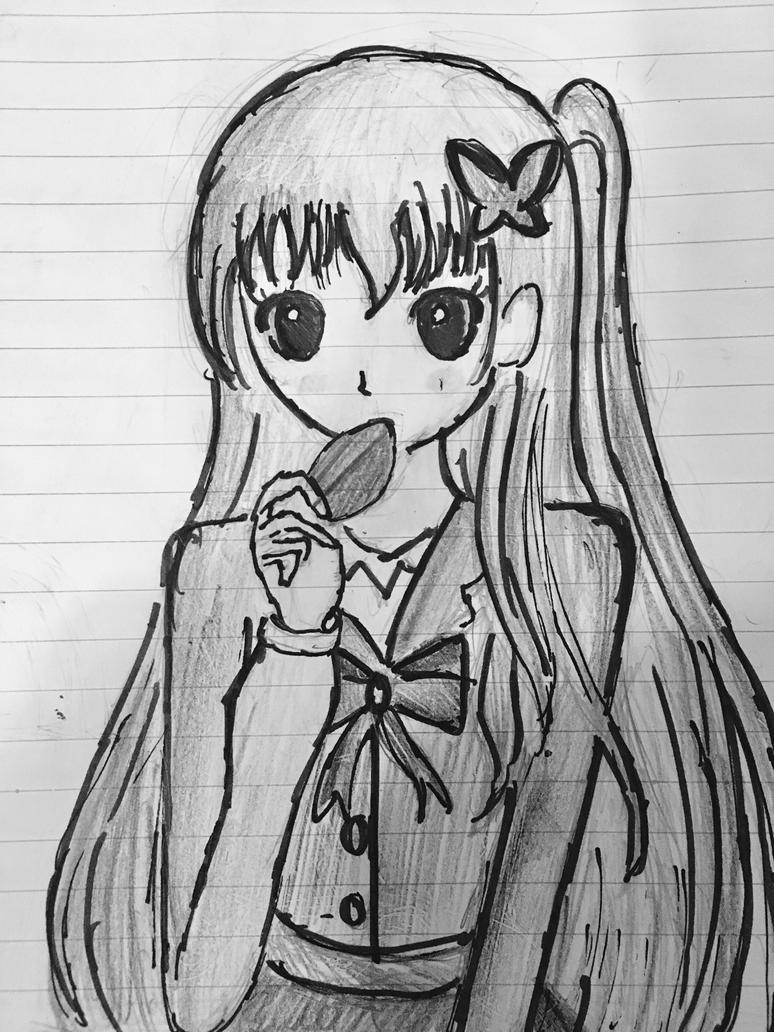 Anime girl- black n white by Yozora-Kasumi