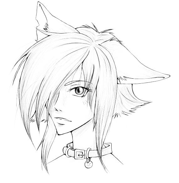 Random cat girl wip by aunril