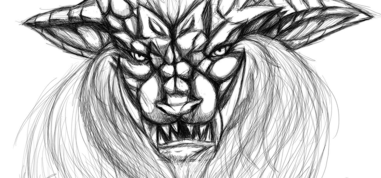 Teostra rough sketch by Hoppety