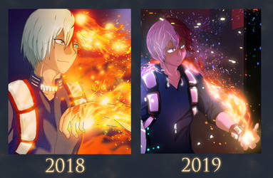 Draw this again - Shoto 2018 vs 2019 by Hoppety