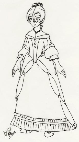 Line Drawing Dress : Rojo s dress line art by ravenez on deviantart