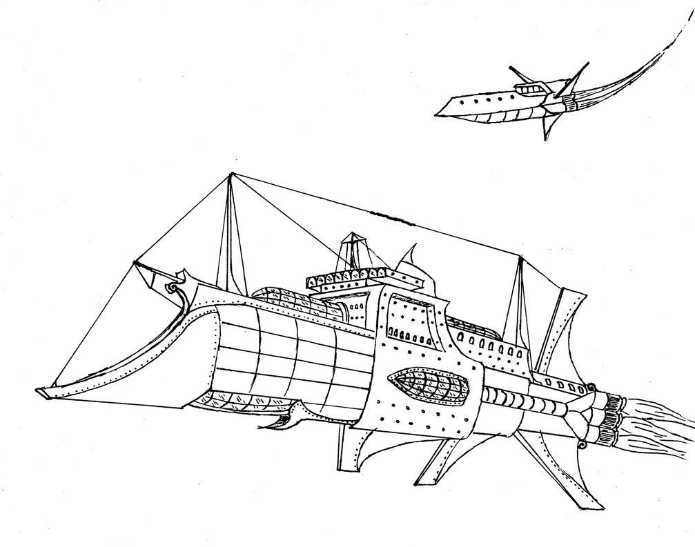 Steampunk Spaceship 2 by Ensatina