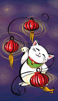 Maneki Neko and Lanterns by labrattish
