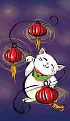 Maneki Neko and Lanterns by labrattish