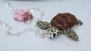Sea Turtle Necklace, Polymer Clay