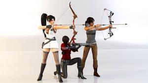 Ada Wong, Lara Croft, and Momiji Render