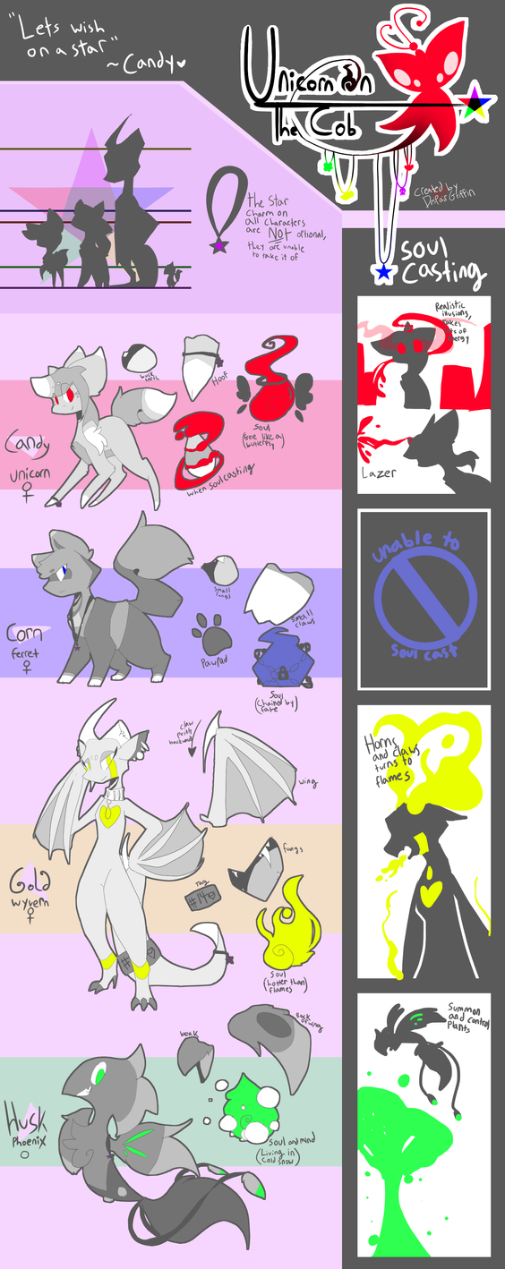 [UPDATED] Unicorn on the Cob~Main Cast Ref Sheet by DespairGriffin