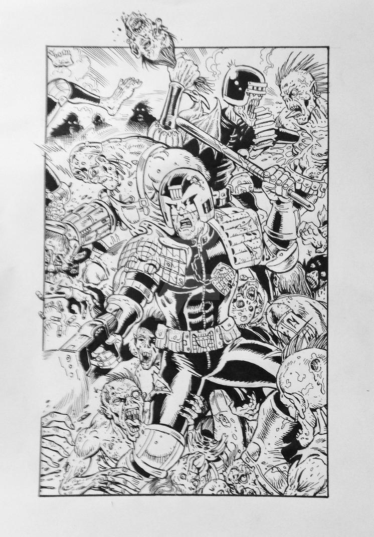 Judge dredd vs zombies print for charity inks  by Johnny-Retro65