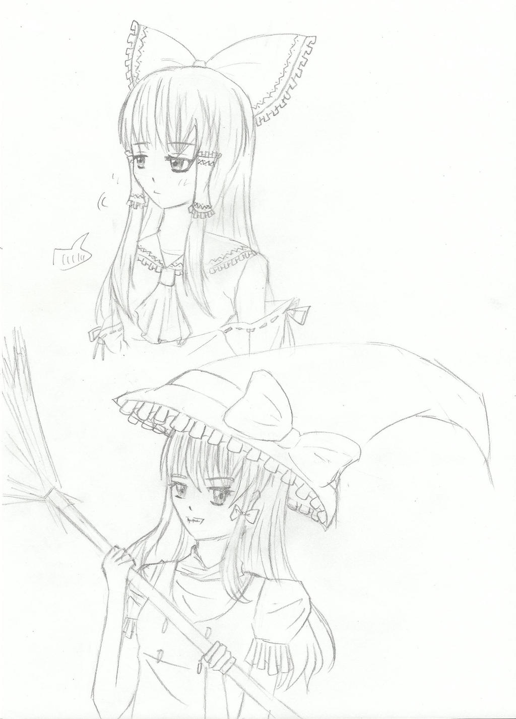 Reimu and Marisa by Renny1998