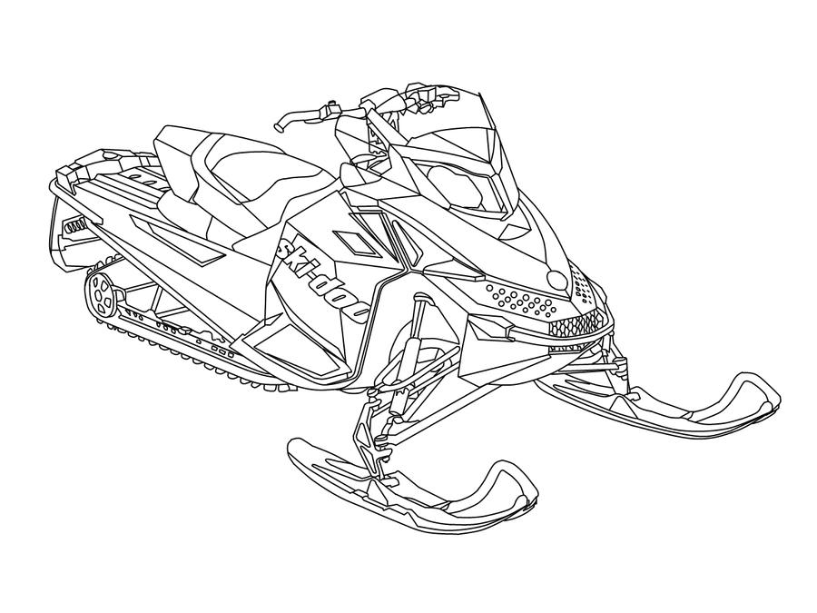 Snowmobiles Free Coloring Pages