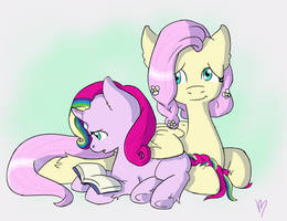 Harmony and Fluttershy - Learning to Read by chipperpony
