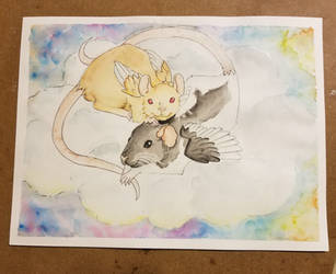 Angel Rats - Watercolor pet memorial by chipperpony