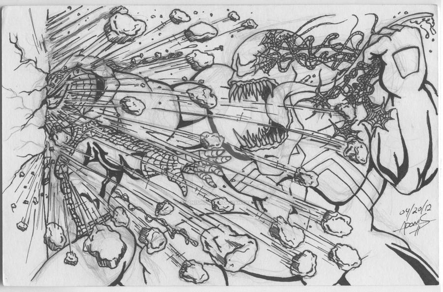 Venom vs. Spiderman by adonishoward