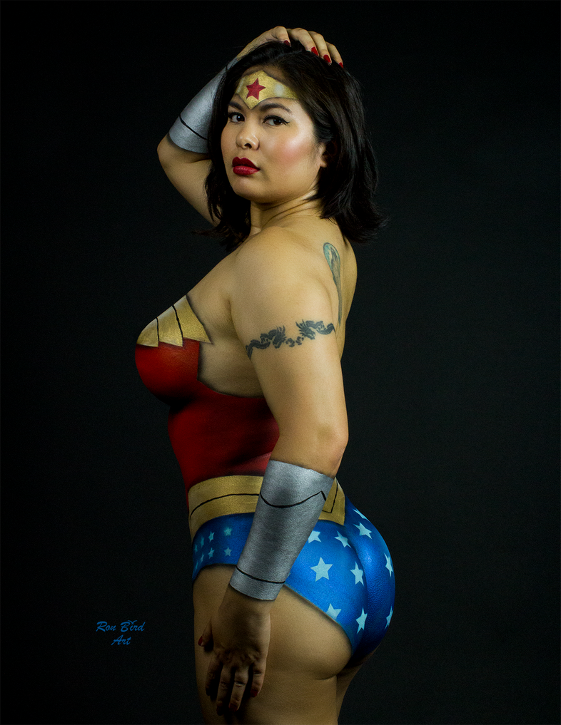 Happy Hump Day Wonder Woman body painting by CarolineCosplay