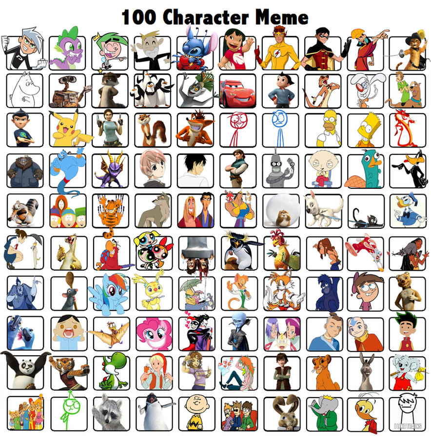 Cartoon Characters 2 100 Pics : Character meme by minniii on deviantart