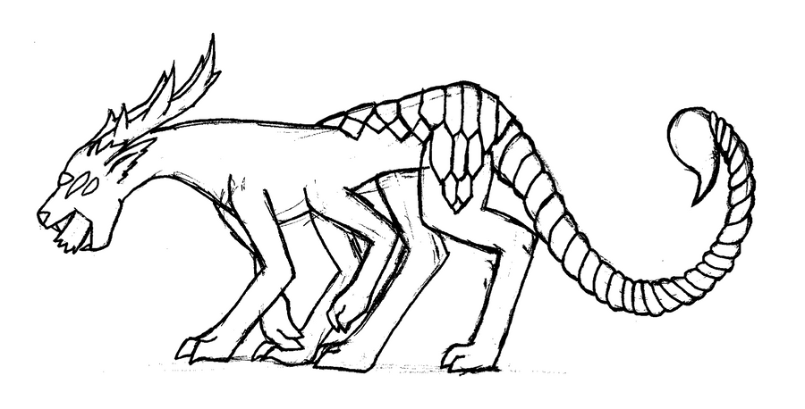 Line Drawing Monster : Panther scorpion weird monster lineart by tidal fox on