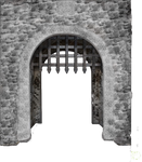 Medieval-castle-main-enter-gate-isolated-44864660