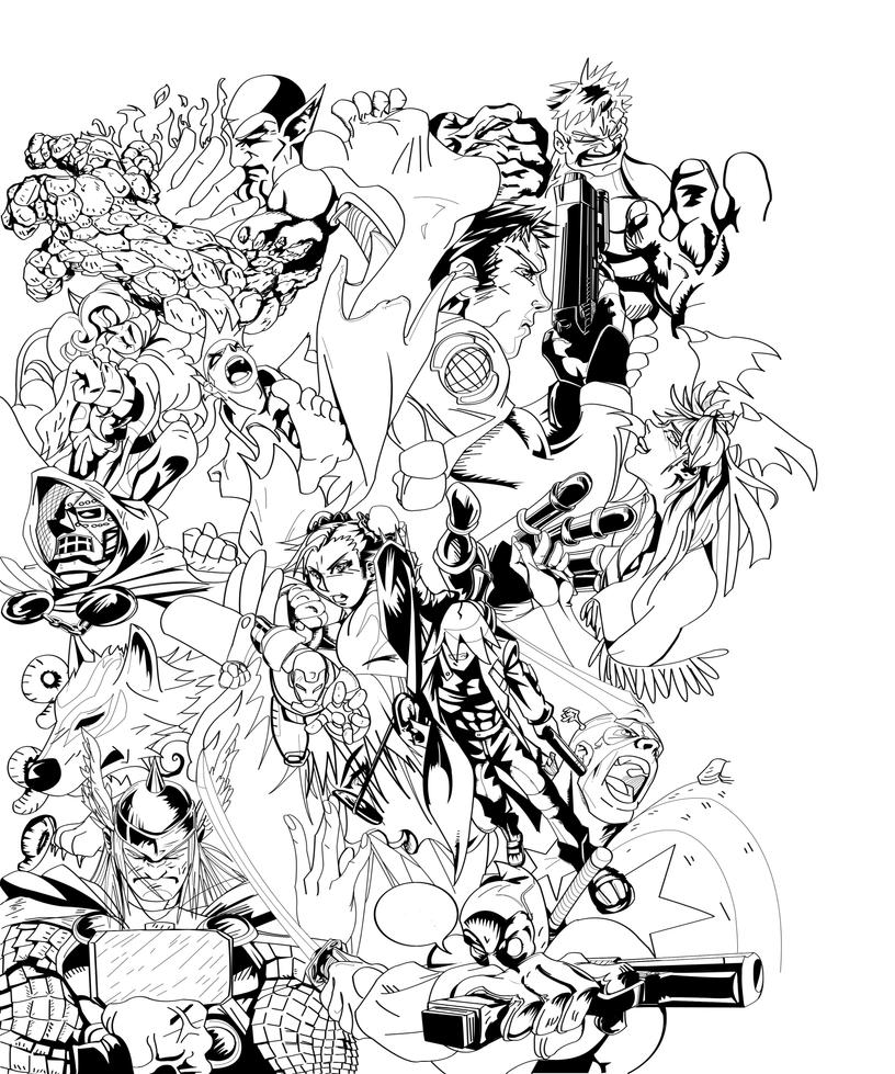 Line Art Marvel : Marvel vs capcom by liquidcamo on deviantart