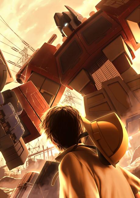 [Pro Art et Fan Art] Artistes à découvrir: Séries Animé Transformers, Films Transformers et non TF - Page 4 G1_optimus_and_spike_by_yorozubussan-d49gfi7
