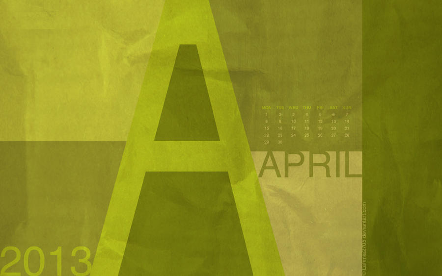 Graphical Desktop Wallpaper Calendar April 2013 by Lavinia1988