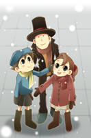 Layton:first snow of the year by RokusukeTanaka