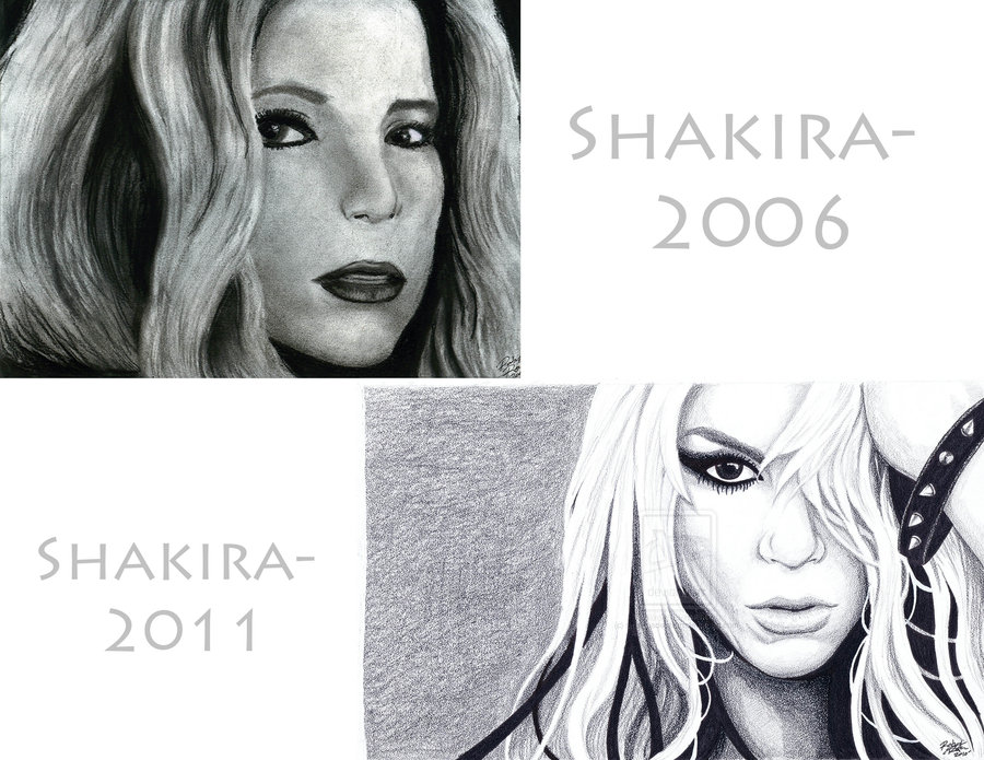Shakira 2006 and 2011 by Me: Robert Ryan's Art by RobertDanielRyan