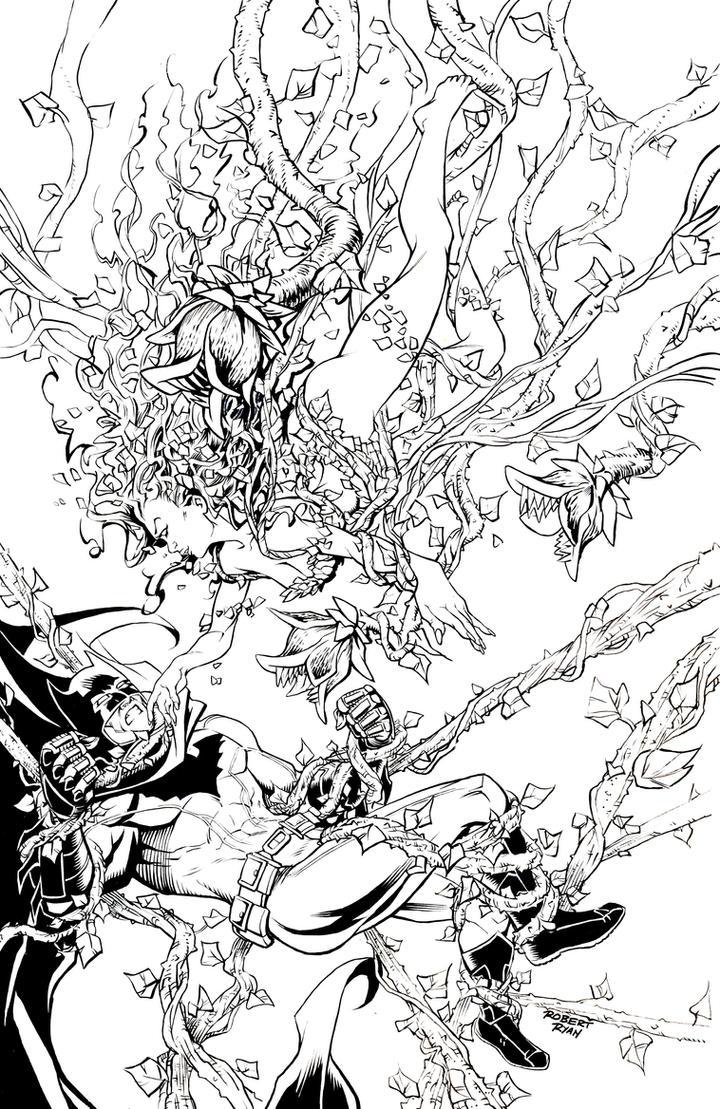 poison ivy vs batman pin up inks by robertdanielryan on deviantart