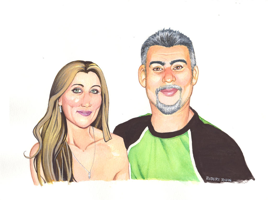 John and Monica Watercolor Pin Up by RobertDanielRyan