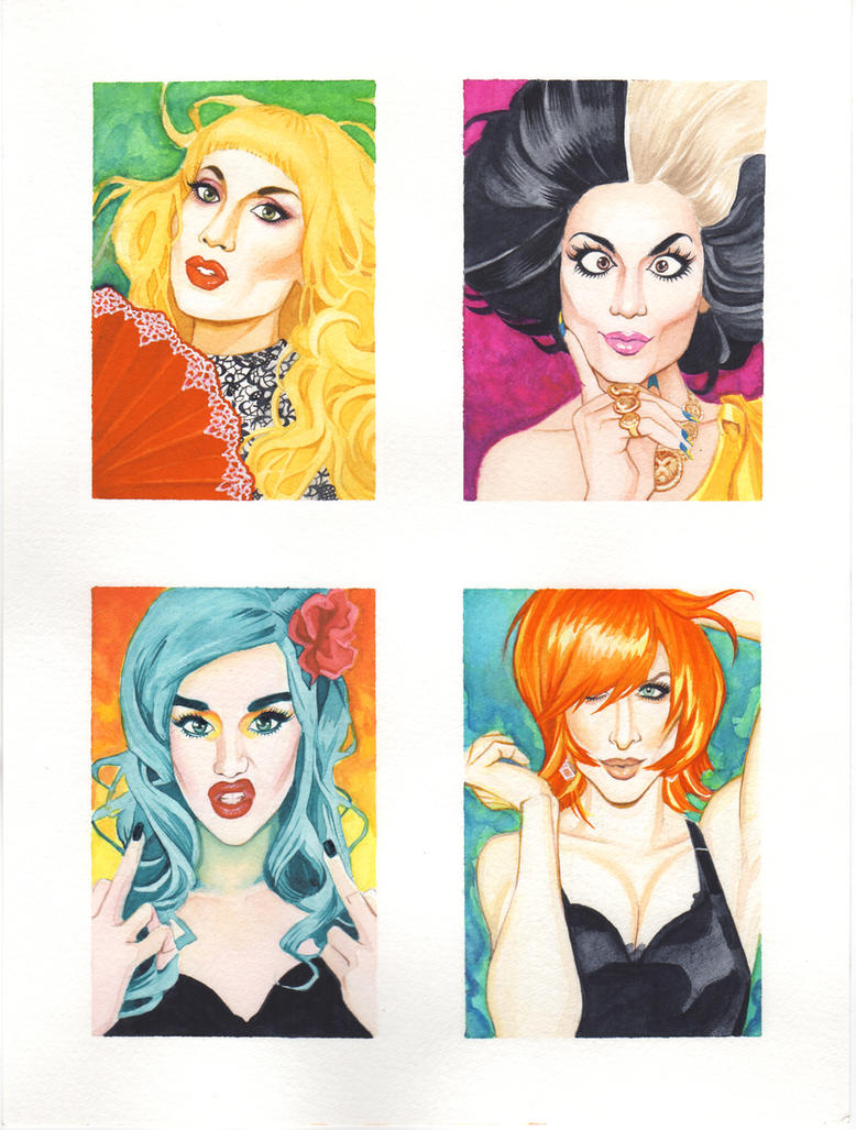 Drag Race Queens Watercolor Pin Up by RobertDanielRyan