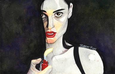Banks Watercolor Painting Pin-up by RobertDanielRyan