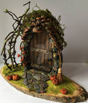Pumpkin patch fairy door by LittleWrenCottage