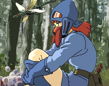 Nausicaa sitting in the forest