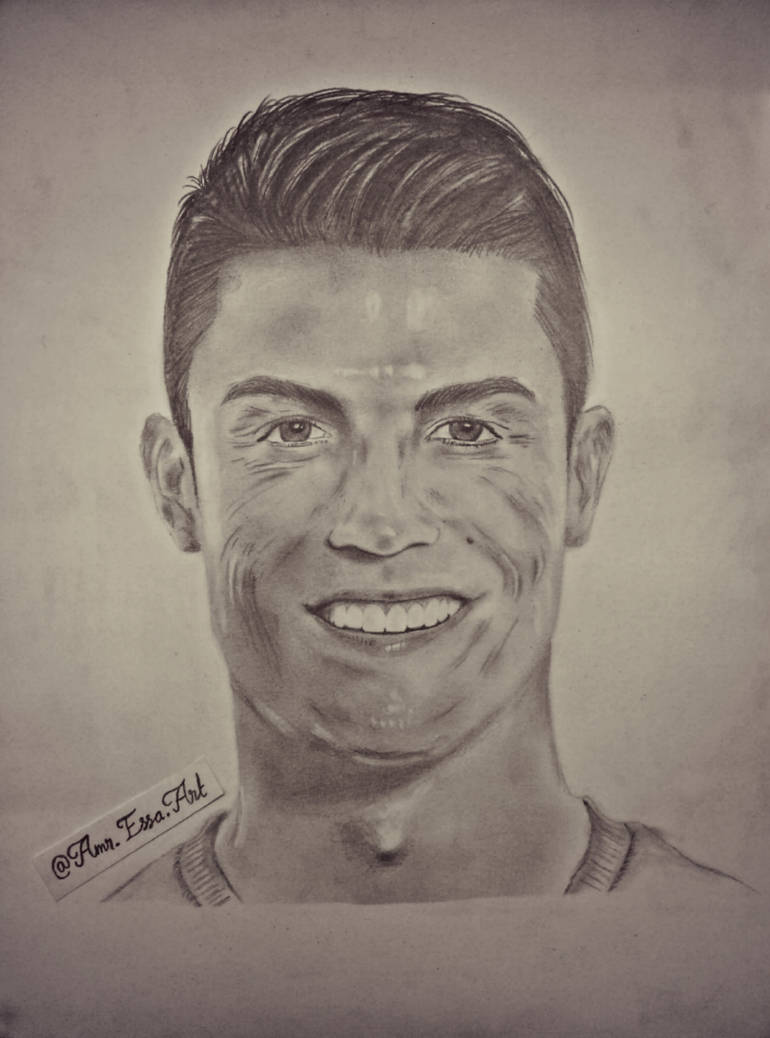 Cristiano ronaldo cr7 pencil drawing portrait by amressaart on