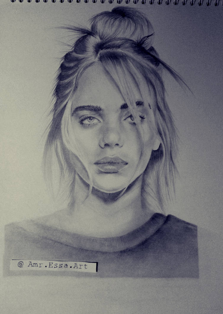 Billie eilish portrait drawing by amressaart
