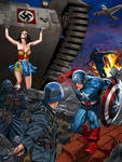 Captain America and Wonder Woman against nazi army