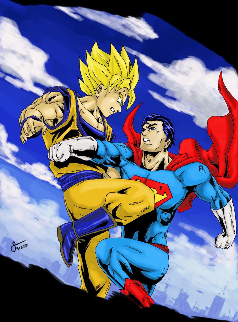 Goku Versus Superman Colored By Stryfers On Deviantart