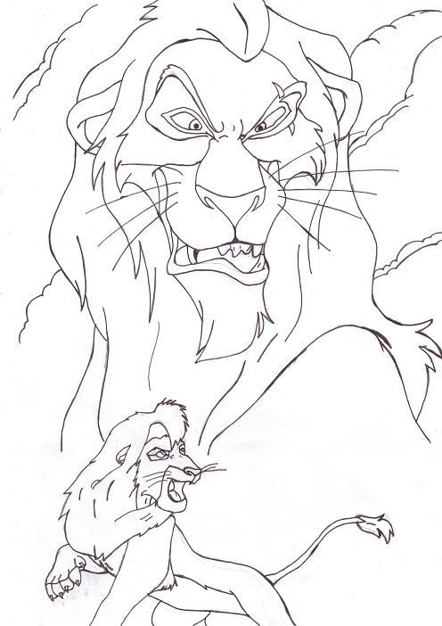 Scar and kovu line art by perfectpureblood on deviantart for Scar coloring page