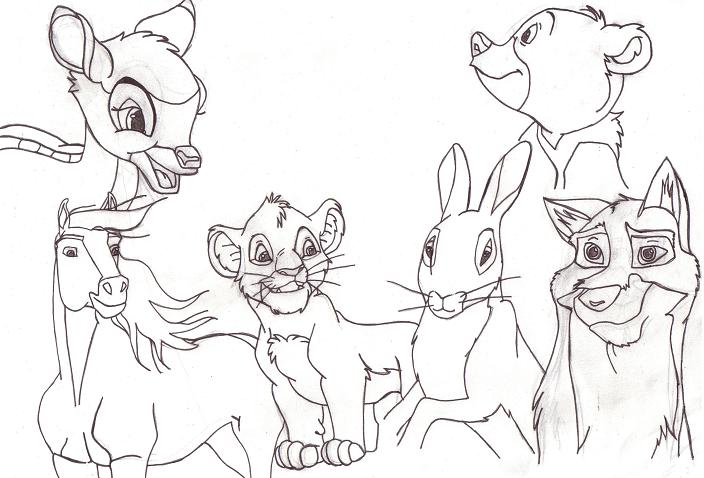 Line Drawings Of Cartoon Animals : Animated animals line art by perfectpureblood on deviantart