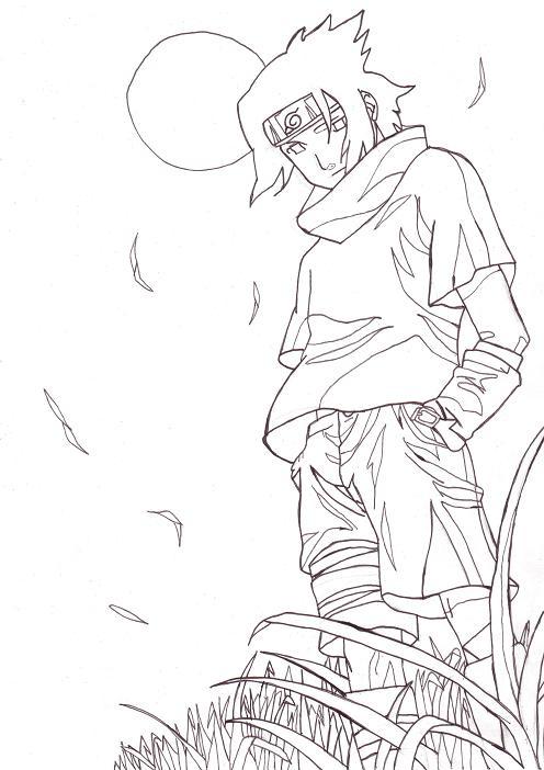 Sasuke Lineart : Sasuke line art by perfectpureblood on deviantart