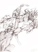 Spiderman vs Carnage and Venom by drock03