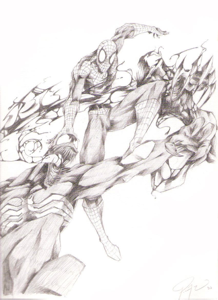 Spiderman vs Carnage and Venom by drock03 on DeviantArt