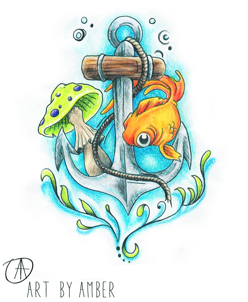 Anchor Tattoo Drawings Fish And Design