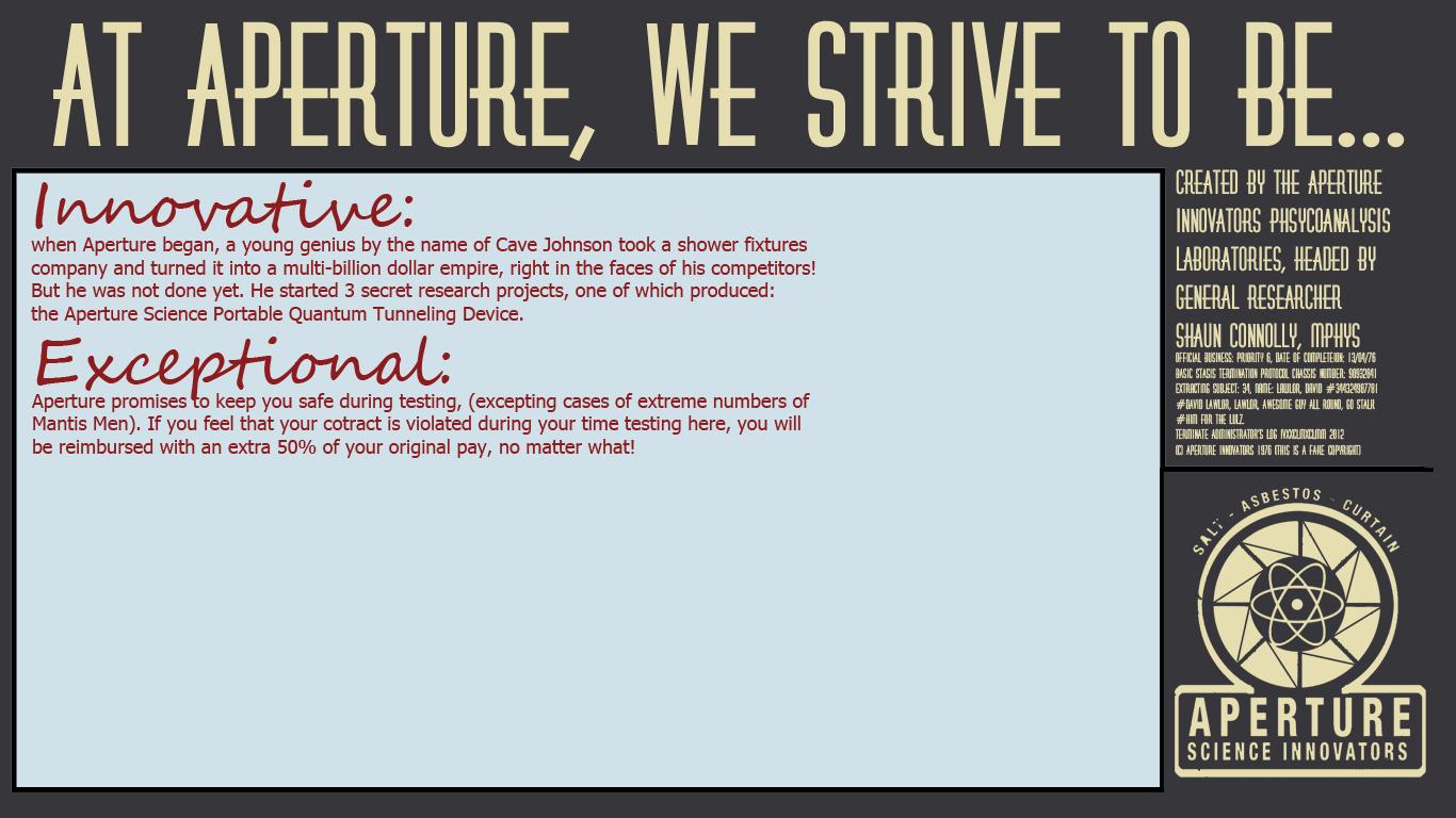 Aperture Innovators (WIP) by arussianbashy on DeviantArt Aperture Science Innovators Font