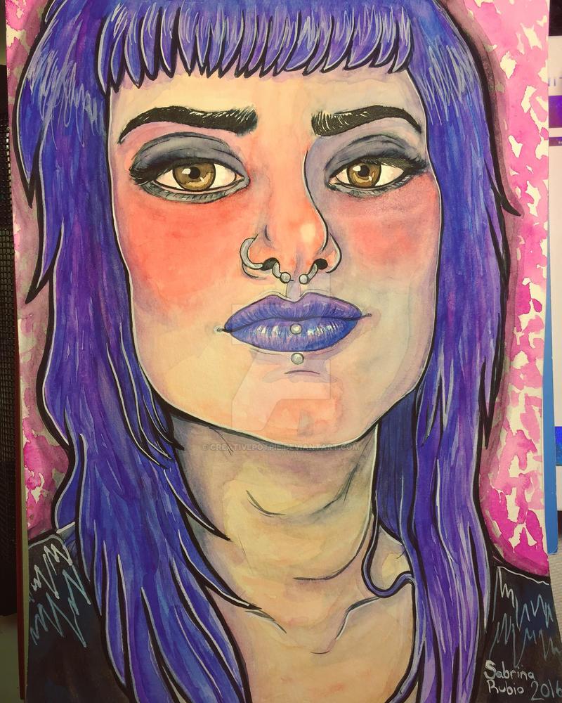 Denise 2016 Gouache watercolor painting by CreativePotPie