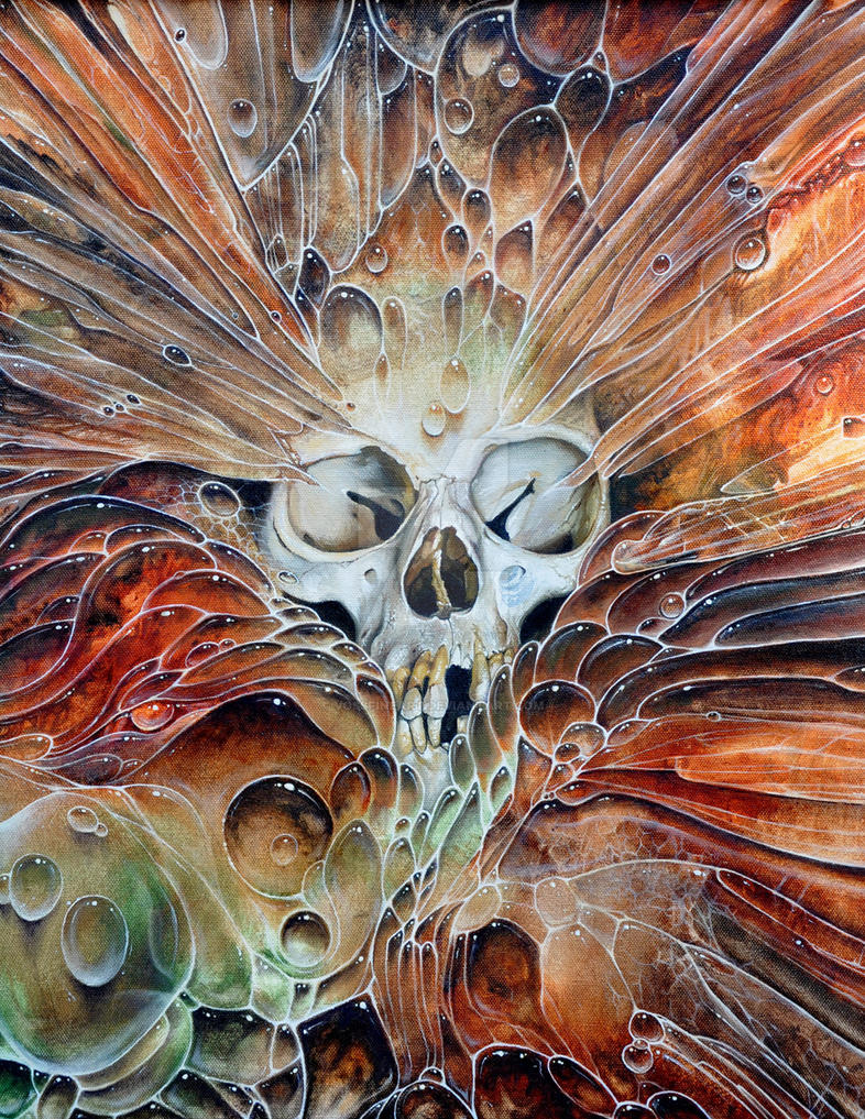Bubble Skull 8.5by11 by Vossfineart