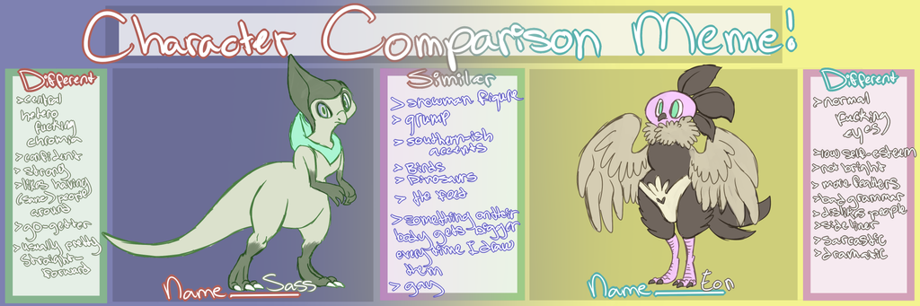 Character Comparison: Sass vs. Eon by UltimateSassMaster