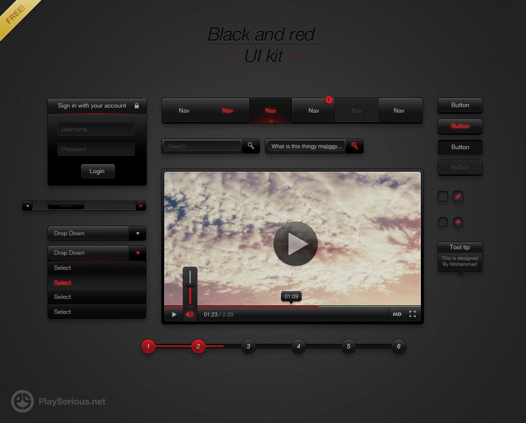 Black and red UI Kit